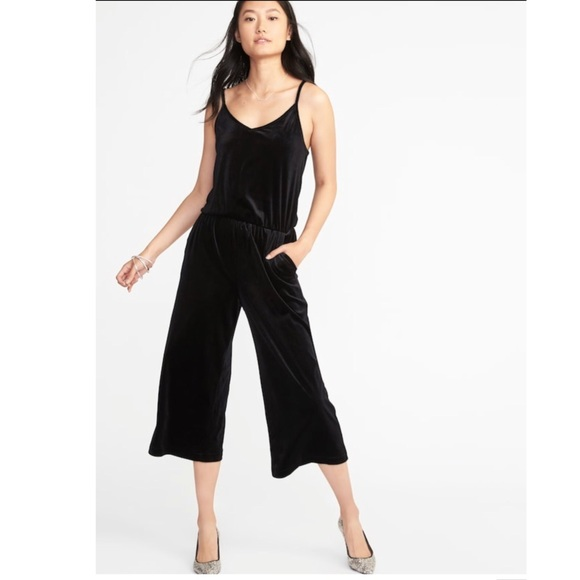403462aeea306 Old Navy Velvet Wide Leg Cami Jumpsuit Black